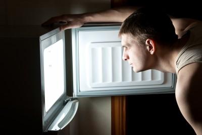 man sleep eating refrigerator night