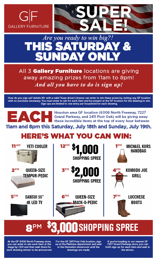 Feeling Lucky? WIN BIG TODAY at Gallery Furniture!